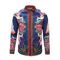 Wholesale Mens Long Sleeve Squares - 2017 stylish Design 3D snake Embroidery Floral Print Mixture Colour luxury harajuku mens long sleeved shirts M-3XL medusa casual shirts