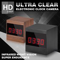 Wholesale Spy Clock Ir - HD Electronic clock spy camera 1080P IR Night Vision Remote Control Alarm ClockCamera for home security with motion detection A10 clock cam