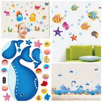 Wholesale painting sea ocean for sale - Group buy Lovely Under The Sea Wall Decals Ocean Friends Walls Stickers For Children Room Decoration Mural Painting Smooth Wallpaper Practical sj4