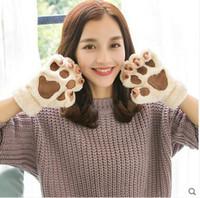 Wholesale Korean Garments Red - Gloves Winter Cute Korean Students Half Finger Cartoon Couple Full Finger Garment Warmer Thicker Winter Plush Claw