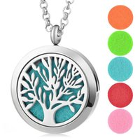 Wholesale Imitation Perfumes - Perfume Aroma Diffuser Locket 30mm Necklace Tree of Life Pendant 316L Stainless Steel Magnetic Perfume Locket without Felt Pads VA-256