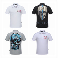 Wholesale Code Sport - Tide brand fashion pp polo T-shirt men's short sleeve PLEIN-PHILIPP T-shirt sports series semi-skull hot drill skull to increase the code