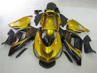 kawasaki ninja zx14r großhandel-Spritzguss 100% fit für Kawasaki Ninja ZX14R 06 07 08-11 gold schwarz Verkleidung Set ZX14R 2006-2011 OT16