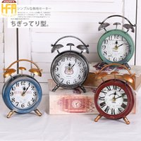 Wholesale Western Ornaments - Western Round Desk Clock Vintage Alarm Clock Old Iron Small Ornaments Personalized Style Desktop Bedroom Clocks Alarm Clocks Mixed Color
