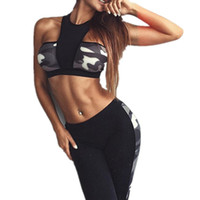 Wholesale Dry Suits For Women - Printed Fitness Workout Clothing Women's Gym Sports Running Slim Leggings Tops Women Yoga Sets Bra Pants Sport Suit For Female