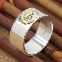 nouvelle bande de main de mode achat en gros de-Marque nouvelle 925 argent sterling bijoux de mode fabriqués à la main vintage bande de concepteur anneaux mens cadeau bicolore livraison gratuite chaud