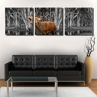 Wholesale Elk Painting - 50*50Cm*3 Wall Decoration Abstract Elk Forest Pattern Home Living Room Wall Decor Unframed Paintings 3 Panels