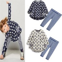 Wholesale Kids Easter Outfits - Ins Girls Rabbit print 2pc sets Long sleeve T shirt with pockets Striped Legging pants Kids Cute Easter day OUTFITS for 2-8T