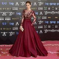veja um longo vestido vermelho venda por atacado-Zuhair Murad lindo Borgonha Longos Vestidos de Noite 2017 Sheer Pescoço Ver Através Do Tapete Vermelho Roxo Prom Party Vestidos Robe de Soiree Barato