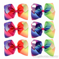 Wholesale Kids Hair Clip Flower - Girls 8 Inch Large Rainbow Grosgrain Ribbon Bow Clips Hairpins Bubble Flower Bow Barrettes Kids Hair Clip Boutique Hair Accessories KFJ44