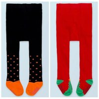 Wholesale Korean Tights For Baby - 2017 fall winter leggings baby halloween leg warmers christmas stockings for girls anti slip socks infant knit leggings korean tights pants