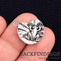 Wholesale Frog Pendant Gold - Wholesale-15*20mm 20pcs lot 2015 New Fashion Antique Silver Plated Handmade Charms Necklace Pendant Frog