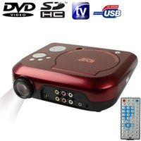 Wholesale Usb Av Receiver - Wholesale- Home Theater Portable DVD Projector with TV Receiver(PAL NTSC SECAM)AV IN  OUT Game Support SD MMC Card USB Flash Disk