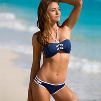Wholesale Spandex Bandeau Swimsuits - 2017 New Ladies Blue Bandeau Halter Bikini Set Lace-Up Contrast Trim Print Swimwear Women Push Up Sexy Bikinis Swimsuits