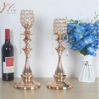 Wholesale Candelabrum Wedding Gifts - New Arrival Single Head Candle Holders Classic Luxury Crystals Metal Wedding Table Home Party Candelabra  Centerpiece Decoration Good Gift