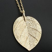 Atacado- Moda Unique Gold Plated Leaf Long Colares Pingentes Maxi Collar Big Statement Necklace For Women Jewelry Gift