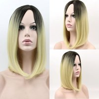 Wholesale Two Tone Colored Wigs - 5 Color 38cm Long Ombre Wig Afrian Women Short Synthetic Wig Two Tone Colored Straight Hort Halve BoBo Cosplay Wig