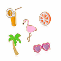 Wholesale Collar Shirts Wholesale - Fruit Brooch Pin Coconut Orange Juice Heart Sunglasses Pink Flamingo Brooches Lapel Pins Shirt Collar Jacket Packet Bag Decor