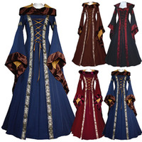 Wholesale Boho Xxl - Renaissance Medieval Cotton Costume Pirate Boho Peasant Wench Victorian Dress Women Vintage Hooded Dress Gothic Dress