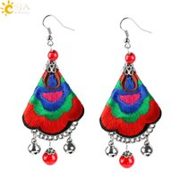 Wholesale Ethnic Rainbow - CSJA Women Ethnic Handmade Earrings Colorful Flower Embroaidered Red Turquoise Dangle Hook Eardrop Jewellery Rainbow Dangler with Bells E524