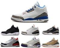 Wholesale M Powder - Wholesale air retro 3 man basketball shoes wool True Blue Dark Powder Blue athletic Cyber Monday discount mens sneaker sale online.