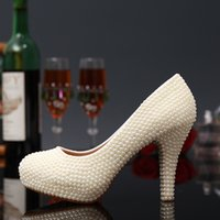 Wholesale White Diamond High Pumps - Luxurious White Pearls Diamonds Christmas Rhinestones Wedding Shoes Handmade High-heeled Lady Bride Bridal Party Prom Evening Pumps