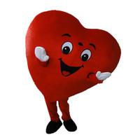 traje de coração adulto venda por atacado-Coração vermelho de adulto traje da mascote tamanho adulto fantasia coração amor mascote traje