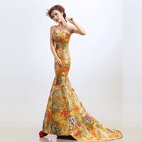 Wholesale Taffeta Qipao - Luxury Red Evening Dress Chinese Traditional Qipao Long Cheongsam Oriental Bride Evenining Dresses Robe Chinoise Vestido