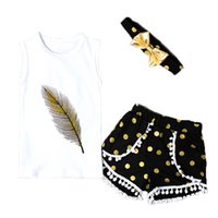 Wholesale Girls Dot Set - Cute Baby Girls Clothing Sets Feather Printed T-Shirt Kids Clothing Polka Dots Girls Short Pants with Headband Girls Clothing Sets