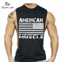 Wholesale Wholesale Clothing Man Usa - Wholesale- Seven Joe. New clothing Bodybuilding Fitness Men American Muscle Workout T-Shirt Gymvest Tank Top US USA Flag Tee Undershirt