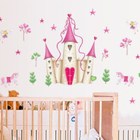 Wholesale Princess Room Designs - Children Wall Sticker Princess Castle Kids Boy Photo Wallpaper Home Decoration Art Room Decor Bedroom Hallway Mural PVC Girl