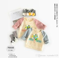 Wholesale Ice Cream Designs - Ins New Euro Style girl kids long Sleeve round collar ice cream design sweatshirts 100% cotton girl spring fall casual Outwear kids coat