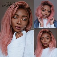 Wholesale Wig Dark Pink Long - Pink Wig PrePlucked Full Lace Human Hair Wigs Ombre Pink Lace Front Wig 130% Density Dark Roots With Baby Hair For Black Women