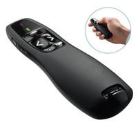 ponteiro de apresentação de controle remoto venda por atacado-Apresentador sem fio R400 2.4GHz Controle Remoto Apresentação Clicker 5mW Vermelho Laser Pointer Flip Pen Com Receptor USB