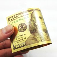 Wholesale Wholesale Wedding Souvenirs Usa - 24K USA Gold Foil Dollar $100 Wedding Decoration Arts Gifts Collections Banknotes Unique Souvenir Money Home Decoration Art Collectible Gift