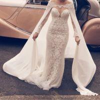 Wholesale Stylish Bridal Dresses - Elegant Long Sleeves Wedding Dress With Wrap Sheer Jewel Neckline Lace Applique Tulle Mermaid Wedding Gowns 2017 Stylish Sexy Bridal Dresses