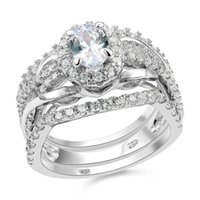 oval halo ring - New pc Solid Sterling Silver Oval Shape Halo Wedding Ring Sets For Women