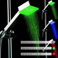 Wholesale Shower Arm Wall - Contemporary Hand Shower Chrome Polished Feature for Rectangular Colorful LED Shower Head Wall Mounted Shower Heads With Arm