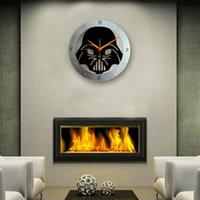 Wholesale Star Wars Europe - Retro Knight Black Clock New Fashion Creative Wall Art Skeleton Decoration Mute Hanging Wall Clock The Star Wars Shanpe Clocks