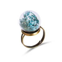 Wholesale Gold Multicolor Rings - Vintage dandelion glass ball rings multicolor natural dried flowers ring adjustable band rings fashion jewelry gift