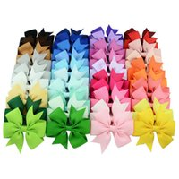 Wholesale Kinder Barrette - XS 40 Kinds Colors Pure Color Rib Ribbon Fish Bow Clip Hair Children Tire Hair Accessories Wholesale