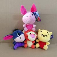 Wholesale Wholesale Tiger Keychain - 4pcs Lot 10cm Anime Bear Pig Tiger Donkey plush toy Cartoon Bear Pig stuffed doll Kawaii Tiger Donkey plush keychain pendant