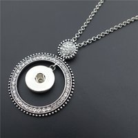 Vintage Crystal Rhinestone Round Noosa Chunks Metal Ginger 18MM Snap Buttons Long Chain Necklace Jewelry Wholesale
