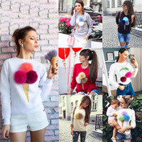 Wholesale Hair Color Ball - Ice Cream Hoodie Rabbit Hair Fur Ball Ice Cream Cone Printing Round Neck Long Sleeve Sweater Hoodies Fashion Plus Size Sweatshirt Blouse