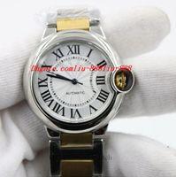 bayanlar altın kol saatleri toptan satış-Lüks Saatler Kol Saati Kadınlar Otomatik Kendinden Rüzgar İzle Lady İki Ton Mekanik Hareketi Saatler 18 K Altın Bilezik Saat Ücretsiz Post