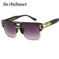 Wholesale Oversized Party Glasses - Wholesale- KeiKeSweet Gold Plated Super Stars Man Lady Sun Glasses Vintage Mirror Party Oversized Rayed Brand Designer Punk Cool Sunglasses