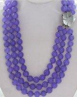 Wholesale Jade Purple Circle Pendant - 3row AAA+ 8mm Purple round jade beads shell flower pendant necklace HU2099