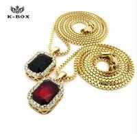 "Wholesale Ruby Gold Fashion Jewelry - 2017 18K Gold Square Ruby Onyx Emerald Gem Stone Pendant Charm 24"" 30"" Box Chain Necklace men necklace Fashion Jewelry men jewerly"