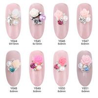Wholesale 3d Nail Art Pearls - Wholesale- 10pcs Flower square rhinestones pearl jewelry nail art design 3d nails decorations new arrive YNS088