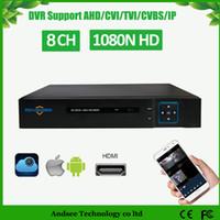 ip dvr 8ch toptan satış-1080N 5 IN1 hibrid 8CH Video Kaydedici Desteği 8ch AHD / TVI HVR Onvif 2.4 IP kameralar CCTV DVR 4ch ses ve HDMI portu